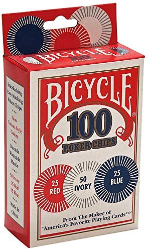 Bicycle Poker Chips - 100 count with 3 colors (Tamaño: 1 Pack)