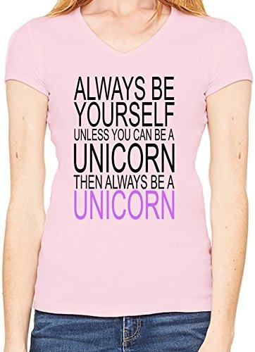 Always Be Yourself Slogan Scollo a V T-shirt da donna XX-Large
