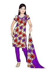 Sonal Trendz Women's Polyester Purple Printed Dress Material - B00VHPEUNK