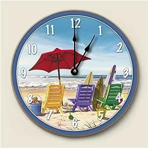 Beachy Keen Umbrella Beach Scene Kitchen Wall Clock