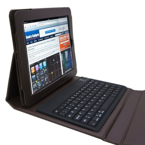 GSI Super Quality Wireless Waterproof Slim 2.0 Bluetooth Keyboard For Apple iPad Wifi/3G, iPad 2, iPhone 3G, 3GS, 4, iPod Touch, PC, Laptops, PS3 And Mobile Smart Phones - Built In iPad Padded Protection Cover, Folio Stand