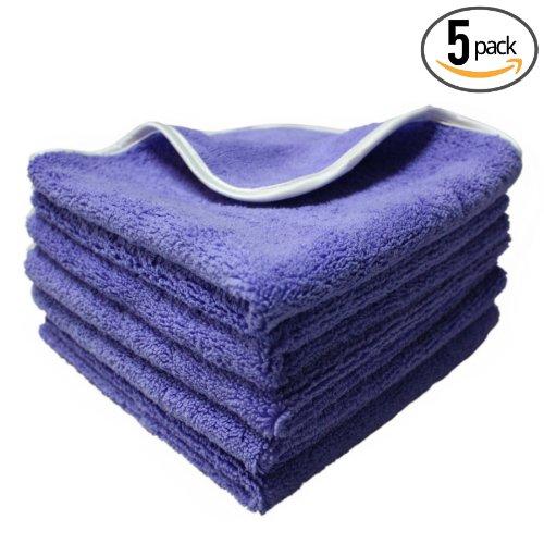 "(5-Pack) **SPECIAL SALE** THE RAG COMPANY 16"" x 16"" Professional Korean 70/30 Plush Dual-Pile Microfiber Auto Detailing Towels ""Split Purple-Nality"""