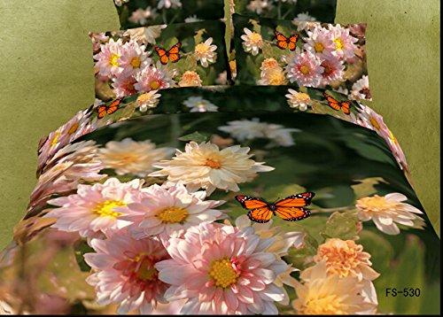 Queen Size 100% Cotton 4-Pieces 3D Orange Pink Flowers Butterfly Green Floral Prints Duvet Cover Set/Bed Linens/Bed Sheet Sets/Bedclothes/Bedding Sets/Bed Sets/Bed Covers/5-Pieces Comforter Sets (5) front-1039586