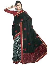 Bhagalpuri Silk Saree In Black Colour For Festive Wear - B00VNQB0Z4