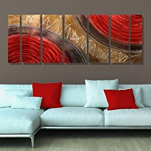 Metallic red gold and brown abstract hand for Red and brown walls
