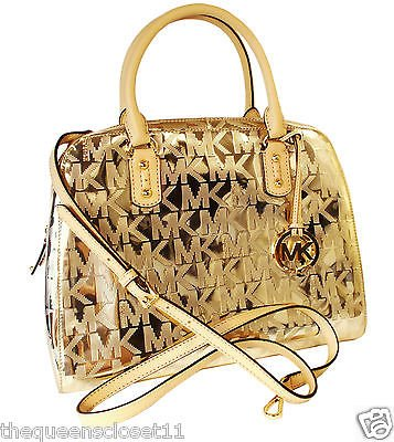 Michael Kors Signature Large Satchel Purse Gold Mirror Metallic Leather