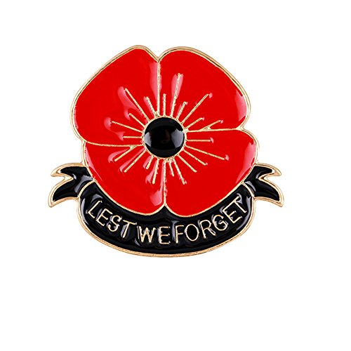 Poppy Flowers Brooch Lest We Forget 40mm X 50mm