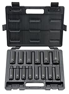 Blackhawk By Proto UW-1514DS 6-Point Drive Deep Impact Socket Set, 1/2-Inch, 14-Piece