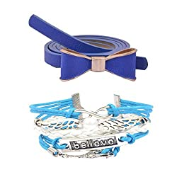 Diovanni Combo of Blue Color Bracelet and Belt For Womens