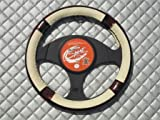 Nissan Figaro Car Steering Wheel Cover SWP 14 M -Ivory Leatherette 14.5 inch medium