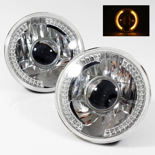 """7"""" Round 6014/6015/6024 Chrome Diamond Projector Headlights With Amber Led Ring"""