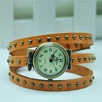5 Color Cool Vintage Lady Women Wrap Around Quartz Leather Bracelet Watch (Orange)