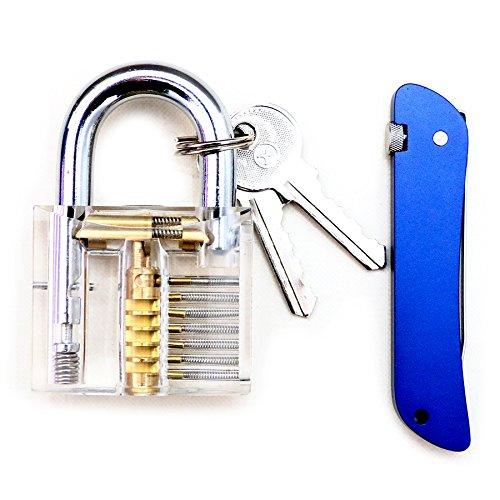 Bullkeys Transparent Padlock with Blue Utility Hardware Combination for Training Practice
