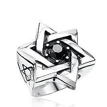 buy Anazoz Stainless Steel Ring Size 12 Black Cz Zircon Stone Jewish Stars Hexagram Symbol Wiccan