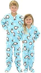 SleepytimePjs Kids Fun Printed Footed Fleece One Piece Pajamas (Blue Penguin, 10 Kids)