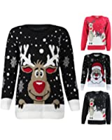 CrazeClothing Ladies Knitted Rudolph Santa Xmas Sweater Womens Christmas Novelty Jumper