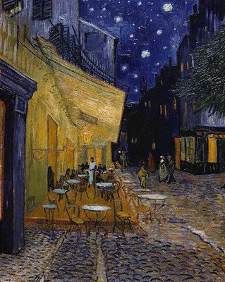 Wallmonkeys Peel and Stick Wall Decals - Cafe Terrace at Night by Vincent Van Gogh - 48