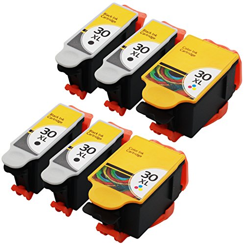GPC Image 6 Pack Compatible Replacement Set for Kodak 30XL 30 XL (4 Black, 2 Color) 1550532 1341080 for use in ESP 3.2 C110 C310 C315 ESP Office 2150 2170 Hero 3.1 4.2 5.1 Printer