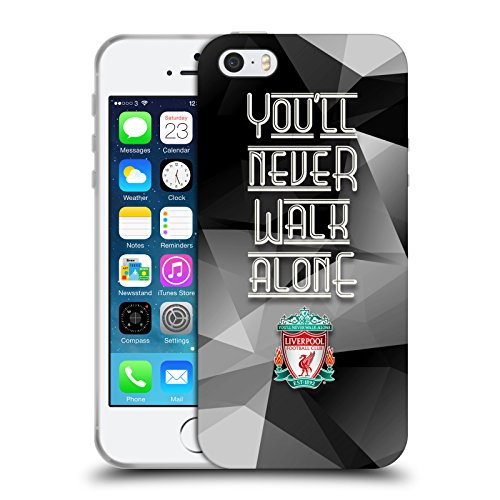 Ufficiale Liverpool Football Club Grigio Geo Crest YNWA Cover Morbida In Gel Per Apple iPhone 5 / 5s