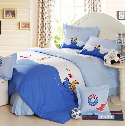 DIAIDI,Cute Cartoon Anime Bedding Sets,Blue Sea Ocean Bedding Set,Twin/Full Size,4Pcs