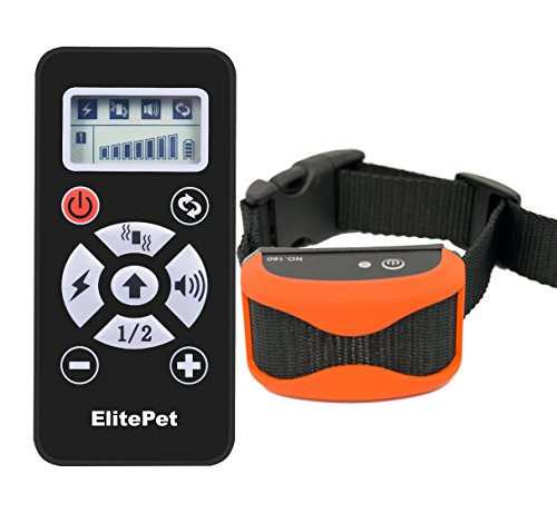 ElitePet Luxe 800 Yard Rechargeable Waterproof Premium Wireless Dog Training Shock Bark Collar System with Automatic Anti No-Bark Feature and Slimline Remote Control