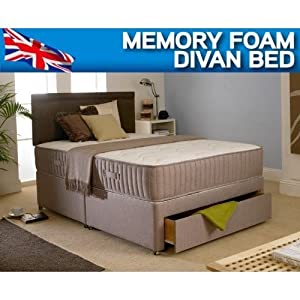 2FT6 SMALL SINGLE DIVAN BED   2 DRAWER STORAGE   WITH 10  DEEP MEMORY FOAM MATTRESS OPEN COIL SPRUNG SYSTEM       Customer reviews and more information