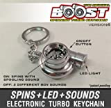 Electronic Spinning Turbo Turbine Keychain with Sounds + LED! - Chrome NEW V4