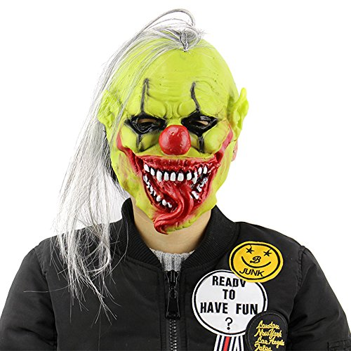 [PrettyGal Scary Tricky Green Face Horror Halloween Party Mask with Wig Hair Clown Latex Mask for Halloween] (Scary Christmas Clowns)