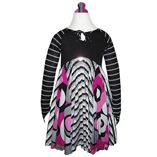 Mixing Magic Dress Black And White Girls Holiday Dress Twirly | Jazzy Cool Cat