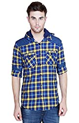 Showoff Men's Full Sleeves Slim fit Blue yellow Checkered Casual Shirt