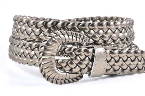 "Ladies Fashion Web Braid Faux Leather Woven Metallic Skinny Thin Belt 8 Colors (M (38""), Metallic Bronze)"