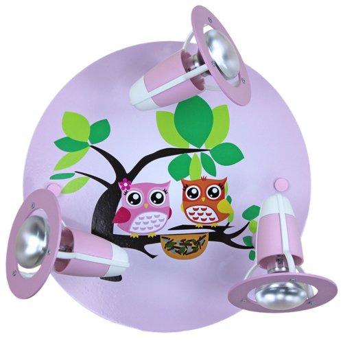 elobra kinder lampe rondell eulen familie deckenleuchte kinderzimmer holz rosa 128275. Black Bedroom Furniture Sets. Home Design Ideas