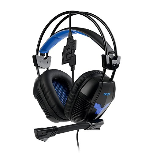 [New 2016] iXCC Howler Gaming Headset Headphones, In-Line Controls, Mic, HD Sound, Noise Canceling for PC, Mac, PS4, Xbox 360, Laptops, Tablets, More