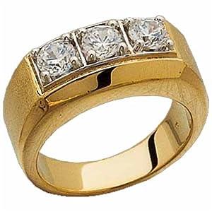 Three Stone Men's Diamond Ring Amazon.com