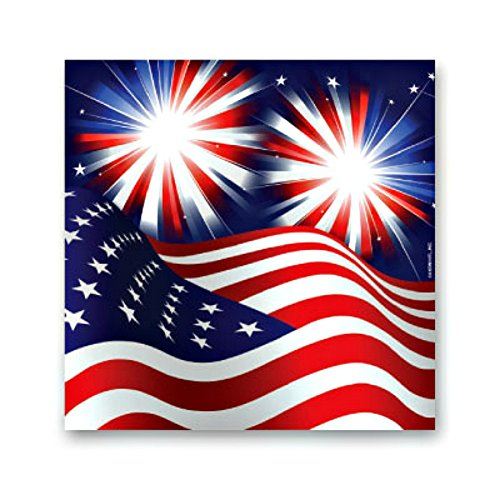 Stars Stripes Fireworks Patriotic Beverage Napkin 4th of July Party Supply 16 ct