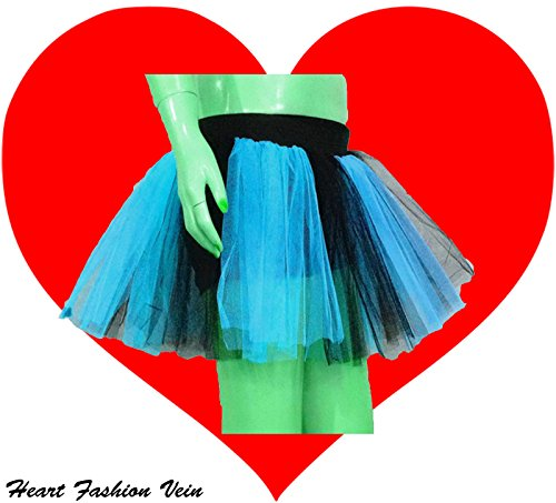 Blue Black Two Layer Two Tone Stripe Tutu Skirt Halloween Christmas New Year