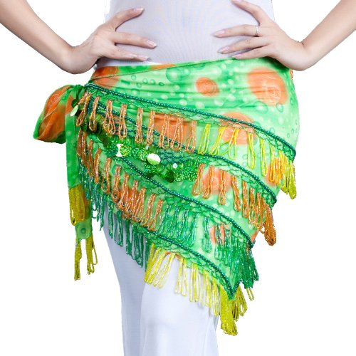 Dance Fairy 2014 Fruit Green Belly Dance Scarf Sequins Tassel Decorated dance costume