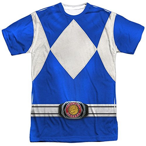 Power Rangers Children's Live Action TV Series Blue Costume Adult Front Print T