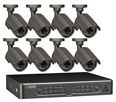 Q-See 8 Channel Real-Time DVR Security Surveillance System with 8 Cameras, 450TVL Res, 65ft Night Vision - 500GB Pre-Installed HDD (model QT5680-8A6-5)