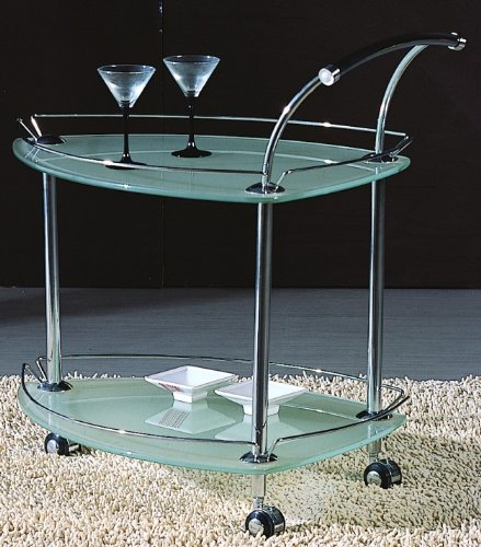 Chintaly Imports Tea-Cart-T Triangular Glass Tea Cart Top - Frosted