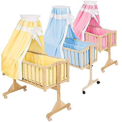 TecTake-Komplette-Babywiege-Kinderbett-Stubenbett-Schaukelwiege-inkl-Zubehr-diverse-Farben-Gelb