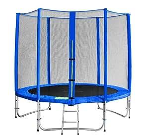 SixBros. Sixjump 2,45 M Trampoline de jardin bleu Certifié par Intertek / GS - Filet de sécurité - Échelle - Housse de protection - CST245/L1612