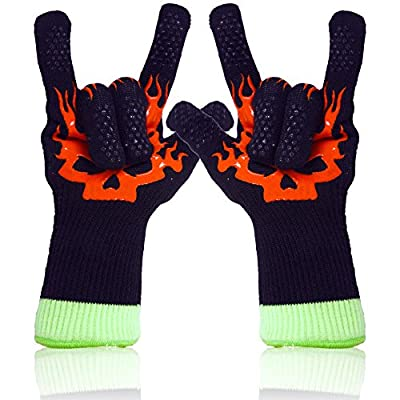 Insulated BBQ Gloves ? Original Bamboo Viscose Fiber Barbecue Gloves ? Features: High Heat Insulated Outer & Inner Liner, Soft, Comfortable, Lightweight, Dexterity, Breatheable, Deodourizing, Non-slip Grip, Washable, Safe & Eco-friendly ? Best for Oven, G