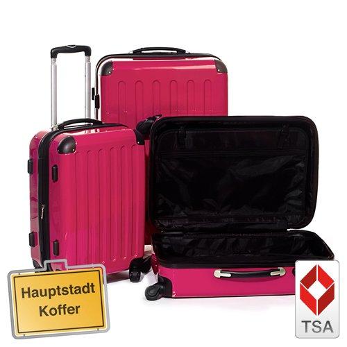 Reisekofferset 3er, Trolleyset, Kofferset, Magenta