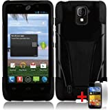 ZTE MAJESTY Z796C BLACK HYBRID T KICKSTAND COVER HARD GEL CASE + FREE SCREEN PROTECTOR from [ACCESSORY ARENA]