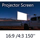 New 150 Inches 4 3 16 9 Wall Mounted Canvas Curtain Front Projection Film Projector Screen For Mini LED Projector...