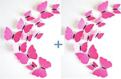 (2 Pack) KARP Removable 12 Pcs 3D Butterfly Wall Sticker Magnet Art Design Decorative Butterfly Sticker Decal For Home Decor,Wall Decoration & Fridge Magnet - Plain Pink Color