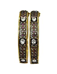 Gehna White Sapphire & Pink Tourmaline Studded Pair Of Bangles In .925 Sterling Silver