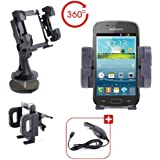 Support 3 en 1 voiture pour téléphone portable / smartphone Samsung Galaxy Core GT-i8262 & i8260 et Core Plus G3500 - grille d'aération, pare-brise & tableau de bord + chargeur allume-cigare BONUS