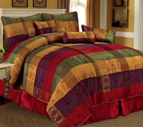 7 Piece Queen Florence Jacquard Plaid Comforter Set front-4708